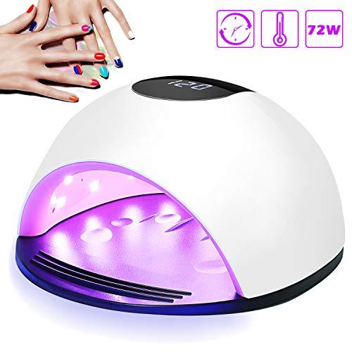 Lámpara LED UV Uñas, Nivlan 72W Lámpara LED Uñas Pantalla LCD Secador de uñas de Botón Táctil Sensor Automático de infrarrojos, Lampara uñas con 4 Temporizador Profesional de 10s, 30s, 60s y 120 s