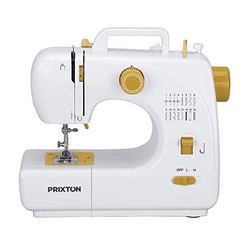 PRIXTON - Mini Maquina de Coser Portatil con Cajón para Accesorios, Lámpara Integrada y 16 Tipos de Puntadas Diferentes, Incluye Pedal, Dimensiones 26x25x11,5 cm   P120