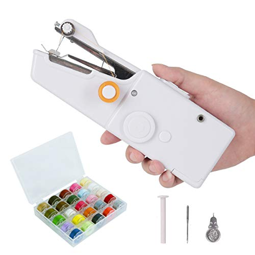 Máquina de Coser, Mini Cortinas de Mano Portátiles Puntada Eléctrica Herramienta Doméstica para El Hogar, con 28 colores Hilos de bobina, aguja y rosca
