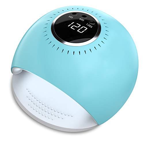 Lámpara LED UV Uñas - 84W Secador de Uñas con 5 segundos de secado rapido y Sensor Automático para manicura/pedicura de esmalte de uñas (azul)