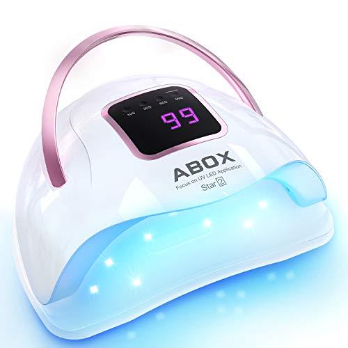 ABOX Lámpara LED UV Uñas 72W con 4 Temporizadores (10s, 30s, 60s, 99s), Sensor Automático y Diseño Portátil, Secador de Uñas para Manicura/Pedicure Nail Art en el Hogar y el Salón